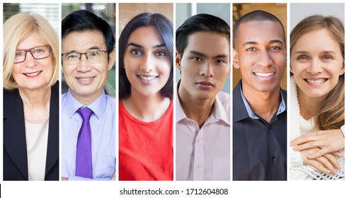 Successful diverse young and middle aged businesspeople portrait set. Smiling men and women of different races and ages multiple shot collage. Business people concept