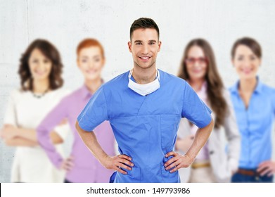 Successful doctor leading a group