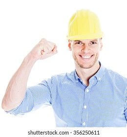 Successful Engineer with yellow hat