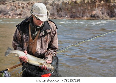 successful fly fisherman with bull trout on the Salmon River