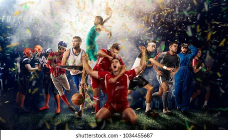 successful football, soccer, basketball, baseball, tennis players, cars, boxing fighters on professional 3D basketball court arena in lights with confetti, serpantine and smoke. collage, multi ,sport