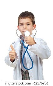 Successful future doctor boy showing stethoscope and giving thumbs upo isolated on white background