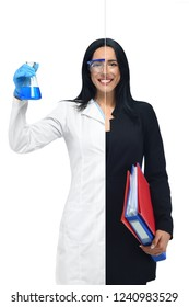 Successful girl in two occupations of scientist and businesswoman isolated on white background. Scientist in white coat holding tube with blue liquid and accountant with document folders in hand.