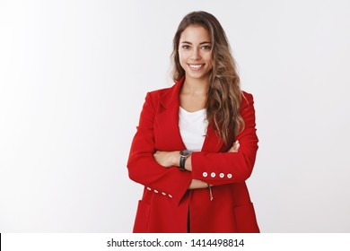 Successful good-looking businesswoman wearing red jacket cross arms confident, smiling self-assured assertive, knowing how work customers, managing own business, white background