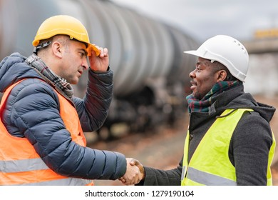 Successful handshake deal: reaching an agreement on construction site