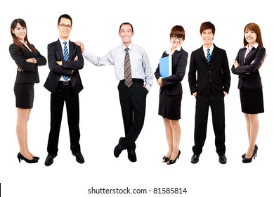 Successful happy asian business team