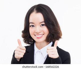 Successful happy Asian businesswoman showing thumb close up shot  isolated on white background.
