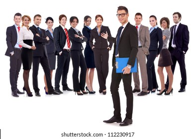 Successful happy business team being presented by a young leader, on white background. young business man welcoming you to his business team