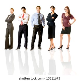 Successful happy business team, isolated on white. To provide maximum quality, I have made this image by combination of five photos.