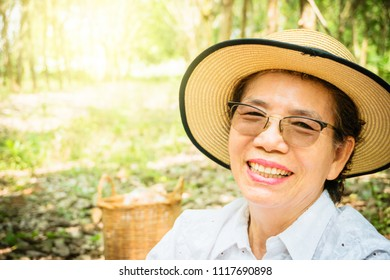 Successful happy wealthy and healthy old aging Asia woman retirement life. Beautiful, smile and fun walking freedom in garden sun light with music. Good life financial investment insurance planning