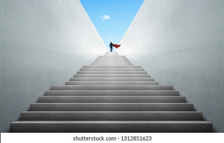 Successful hero businessman climbing on stair , ambitions concept .