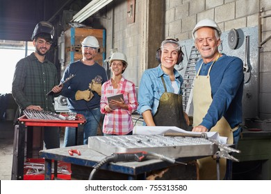 Successful industry operation team in metallurgy factory