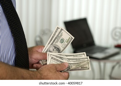 Successful internet business manager, making money with computer