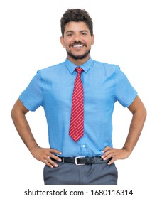 Successful latin american businessmann with beard and tie isolated on white background for cut out