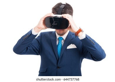 Successful lawyer enjoying 3d experience of reality and wearing vr glasses on white background