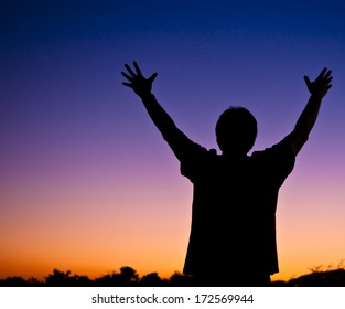 successful man open arm wide on sunset background - happy life success outdoor lifestyle fun peace