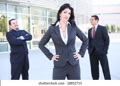A successful man and woman business team at the office building