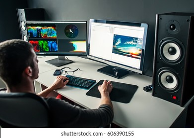 A successful man works for computers. New technologies. Future. high tech. Video clips. The filmmaker. Soundtrack.