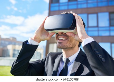 Successful manager with vr headset