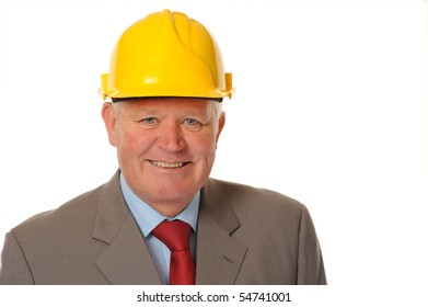Successful mature business man or foreman on white background, with hard hat