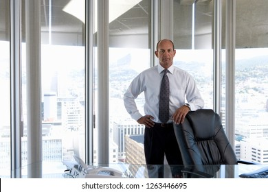 Successful mature businessman CEO by desk in office at camera