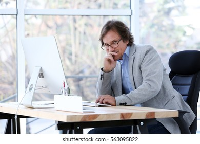 Successful mature man working with computer in office
