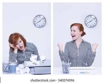Successful and overworked worker sitting beside desk