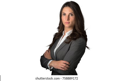 Successful powerful business female CEO leader type isolated standing confidently