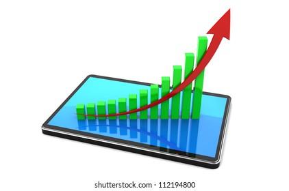 Successful presentation: graphic over digital tablet