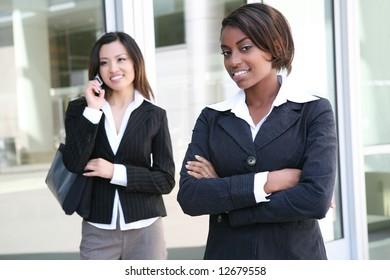 A successful, pretty, business team of diverse women