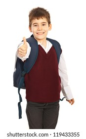 Successful school  giving thumb up isolated on white background