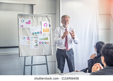 Successful senior businessman boss presenting new project to employees, business coach giving presentation to clients in meeting room, team leader reporting about work explaining result .
