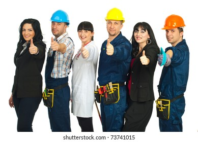 Successful six people with different careers giving thumbs up and standing in a line isolated on white background