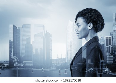 Successful smiling black African American business woman in suit. Singapore cityscape. The concept of woman in business. Legal consultant. Double exposure.