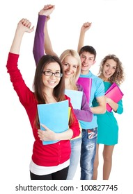 Successful students hold the books in line over a white background