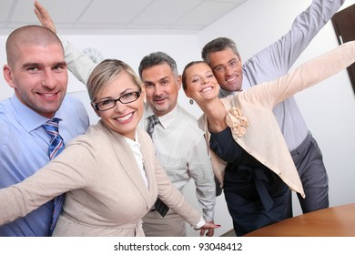 Successful team of business people