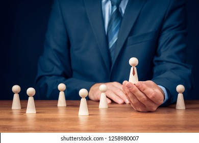 Successful team leader (manager, CEO, market leader) and another business leadership concepts. Human resources officer select team manager.