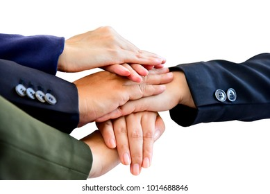 Successful team: many hands holding together isolated on white background