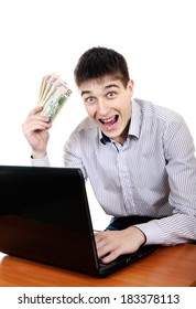 Successful Teenager with Laptop and Money Isolated on the White Background