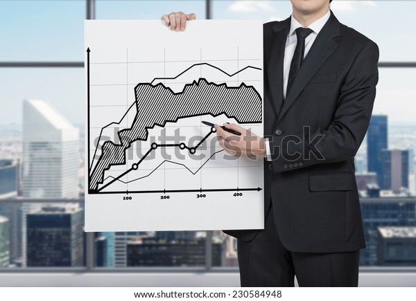 Successful trader is making a presentation of investment strategy.