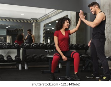 Successful training. Fitness trainer and woman giving each other high five after workout in gym, copy space