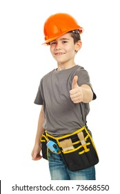 Successful worker boy with helmet giving thumb up isolated on white background