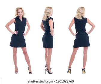 Successful young blonde businesswoman in formal wear posing isolated on white