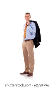 Successful young business man standing holding coat over shoulder on white