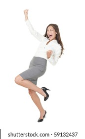 Successful young business woman happy for her success. Isolated full body image on white background. Mixed Asian / Caucasian businesswoman.