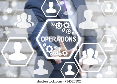Successful young businessman using virtual touch interface with operations text button. Operations Management Business concept.
