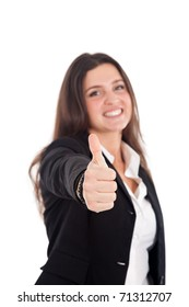 Successful young businesswoman showing thumbs up sign