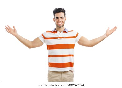 Successful young man with arms wide open, isolated over white background