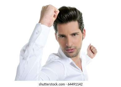 Successful young man gesture expression white background