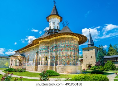 Sucevita orthodox painted church monastery protected by unesco heritage, Suceava town, Moldavia, Bucovina, Romania